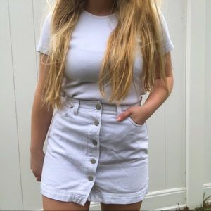 GUESS White Button Up High Waisted Mini Skirt